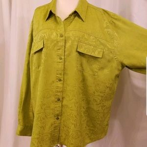 long sleeve shirt button blouse green silky chiffo